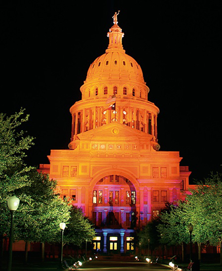 Texas state capitol lighting